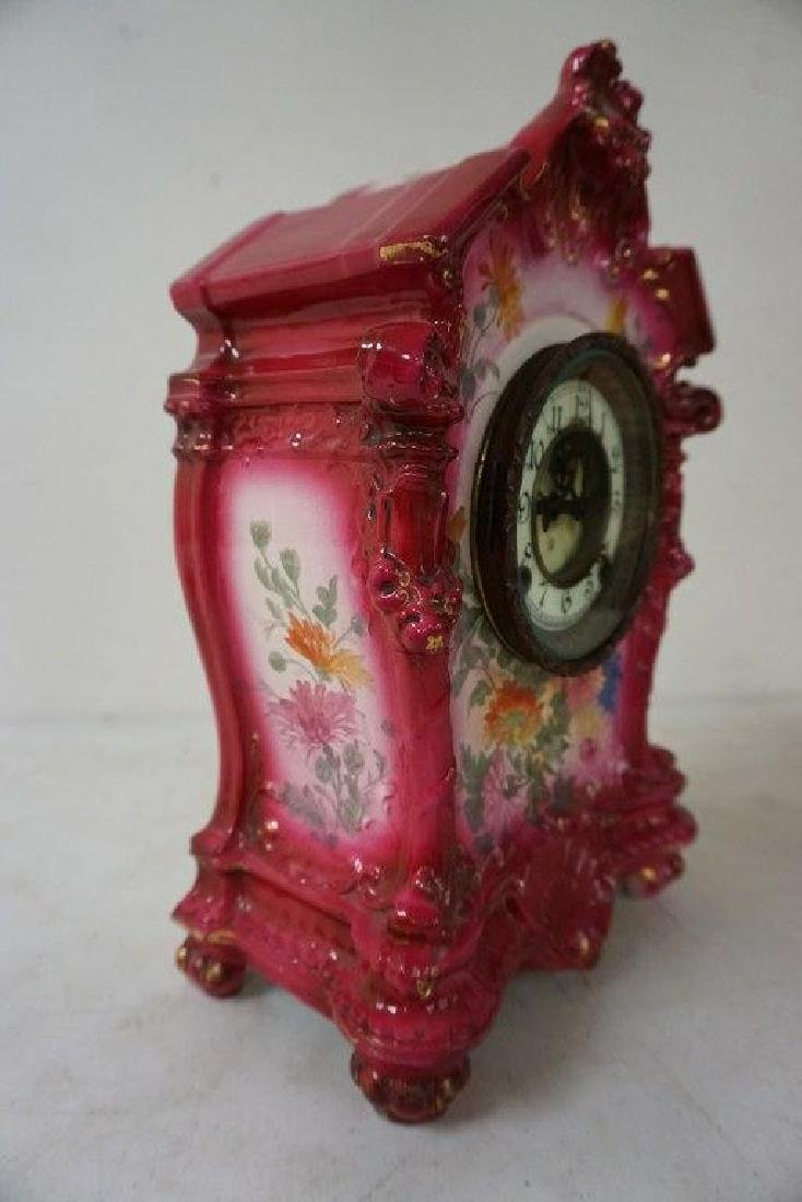 ANSONIA ROYAL BONN PORCELAIN MANTEL CLOCK W/FLORAL - 3