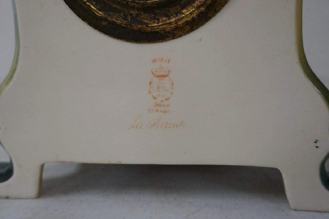 ANSONIA ROYAL BONN PORCELAIN MANTEL CLOCK, FLORAL - 4