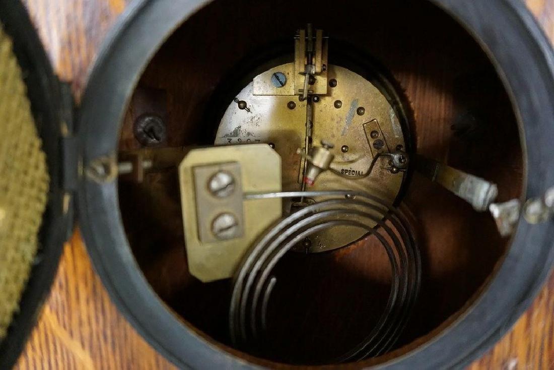 QUALITY OAK MANTEL CLOCK WITH BRASS FINIALS, DECORATIVE - 5