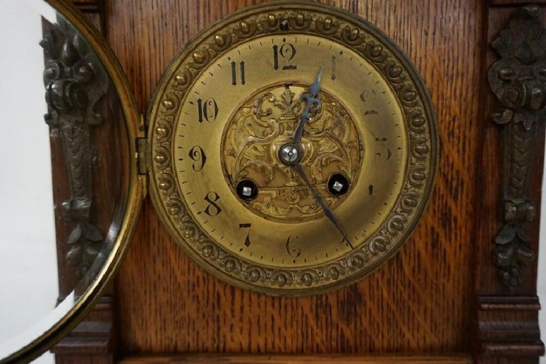 QUALITY OAK MANTEL CLOCK WITH BRASS FINIALS, DECORATIVE - 6