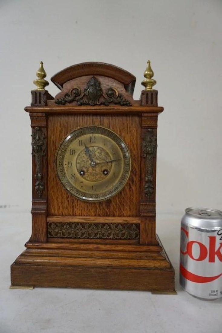 QUALITY OAK MANTEL CLOCK WITH BRASS FINIALS, DECORATIVE - 7