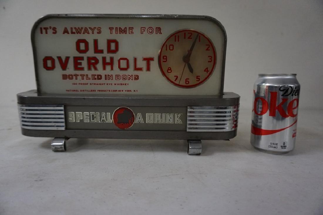 OLD OVERHOLT DECO ADVERTISING DISPLAY CLOCK, NOT