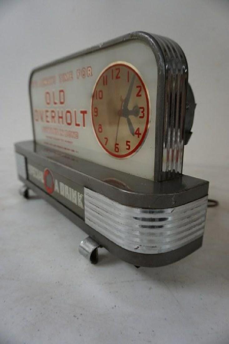 OLD OVERHOLT DECO ADVERTISING DISPLAY CLOCK, NOT - 2