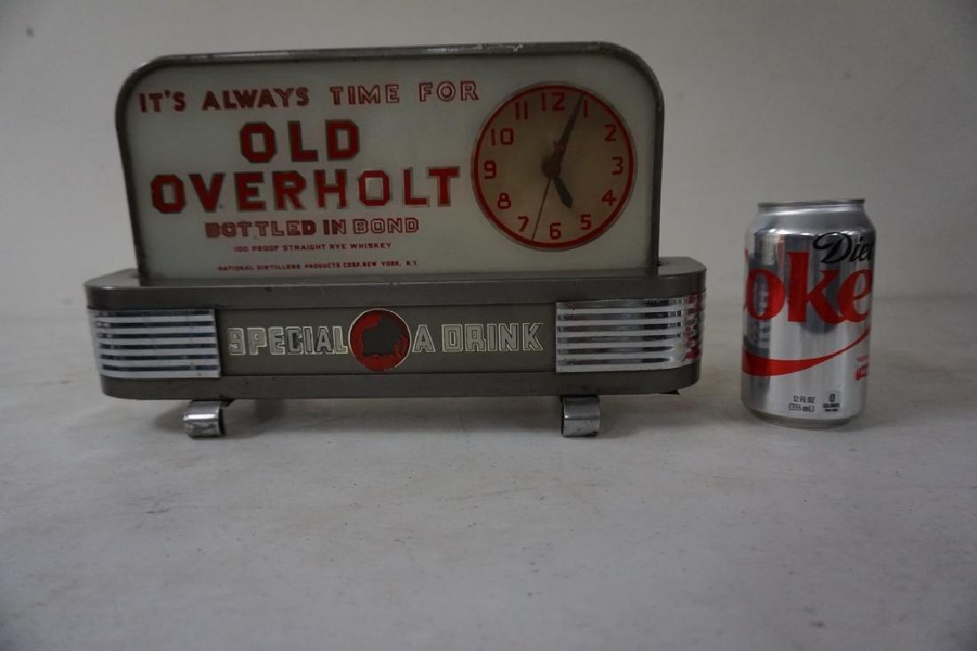 OLD OVERHOLT DECO ADVERTISING DISPLAY CLOCK, NOT - 4