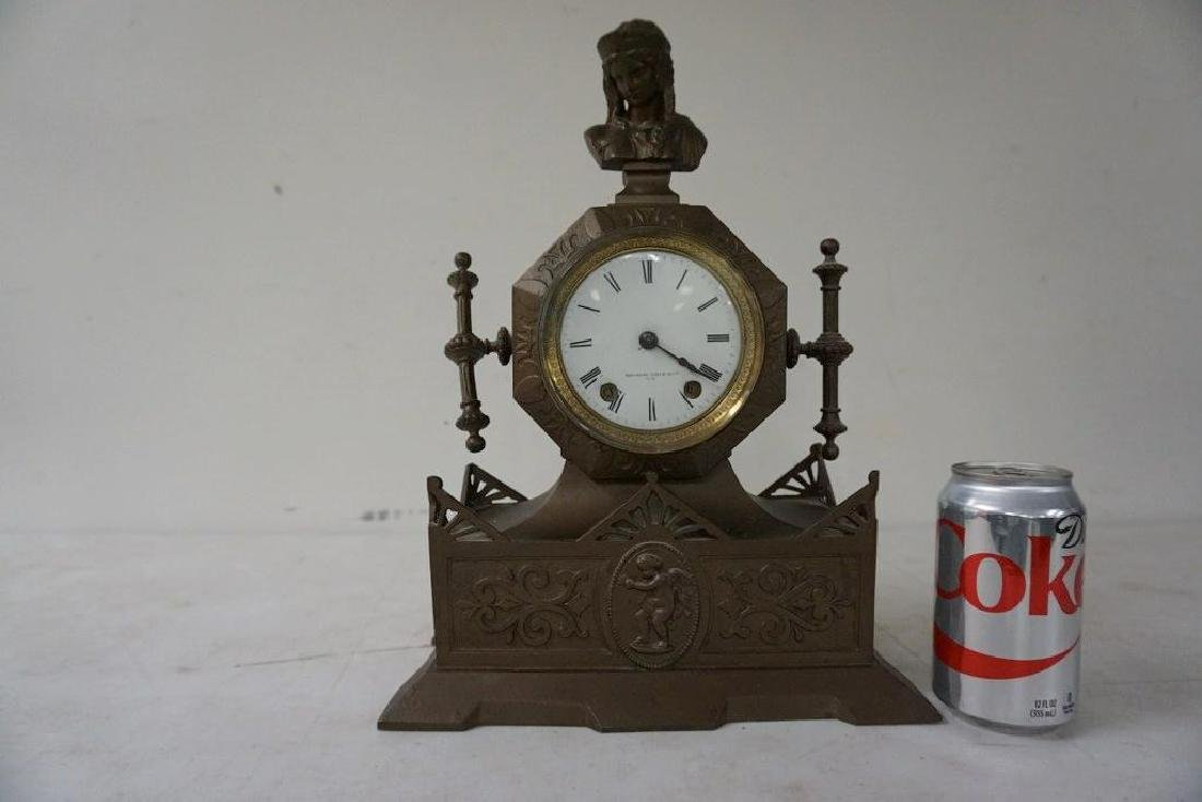 MITCHELL VANCE & CO. NY METAL MANTEL CLOCK WITH FIGURE