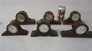 6 SMALL WOOD MANTLE CLOCKS INCUDING INGRAHAM SETH