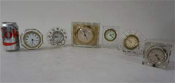 6 OLD CLEAR GLASS CLOCKS INCLUDING GILBERT NEW HAVEN