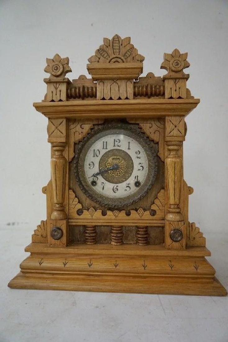 INGRAHAM TIME AND STRIKE  CARVED SHELF CLOCK, MEASURES