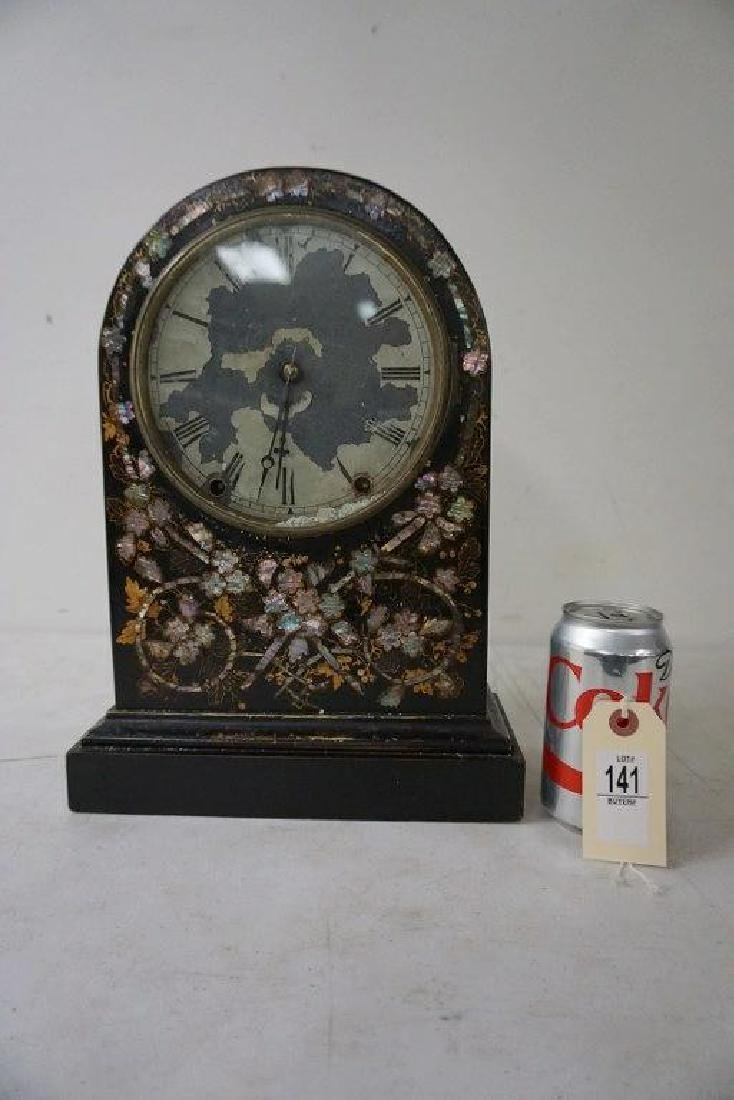 MOTHER OF PEARL INLAY SHELF CLOCK, TIME AND STRIKE,