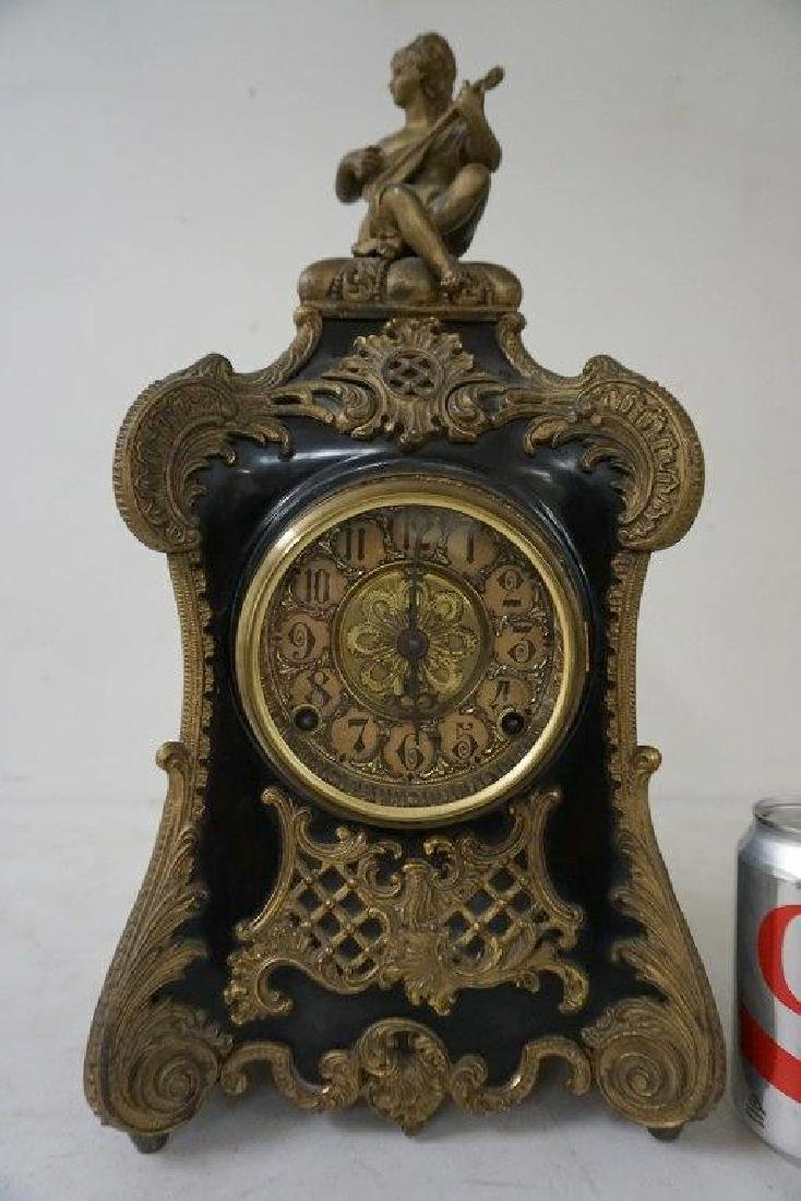 F KROEBER CLOCK CO. FANCY PAINTED WHITE METAL & BLACK
