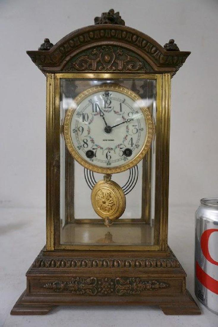 SETH THOMAS BRONZE CRYSTAL REGULATOR CLOCK, PAINTED
