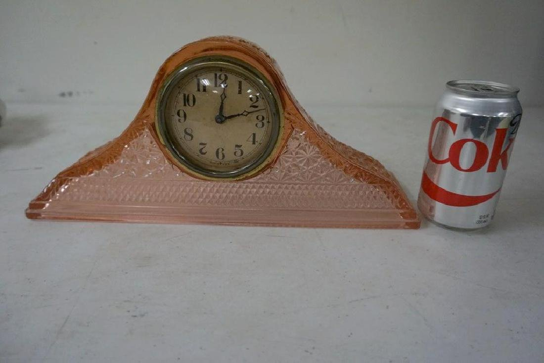 PINK DEPRESSION GLASS 1920'S MANTLE CLOCK, VERY GOOD