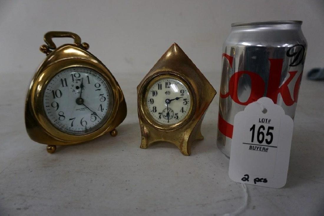 2 MINIATURE CLOCKS, 1 BRASS, 1 WHITE METAL, DIAL