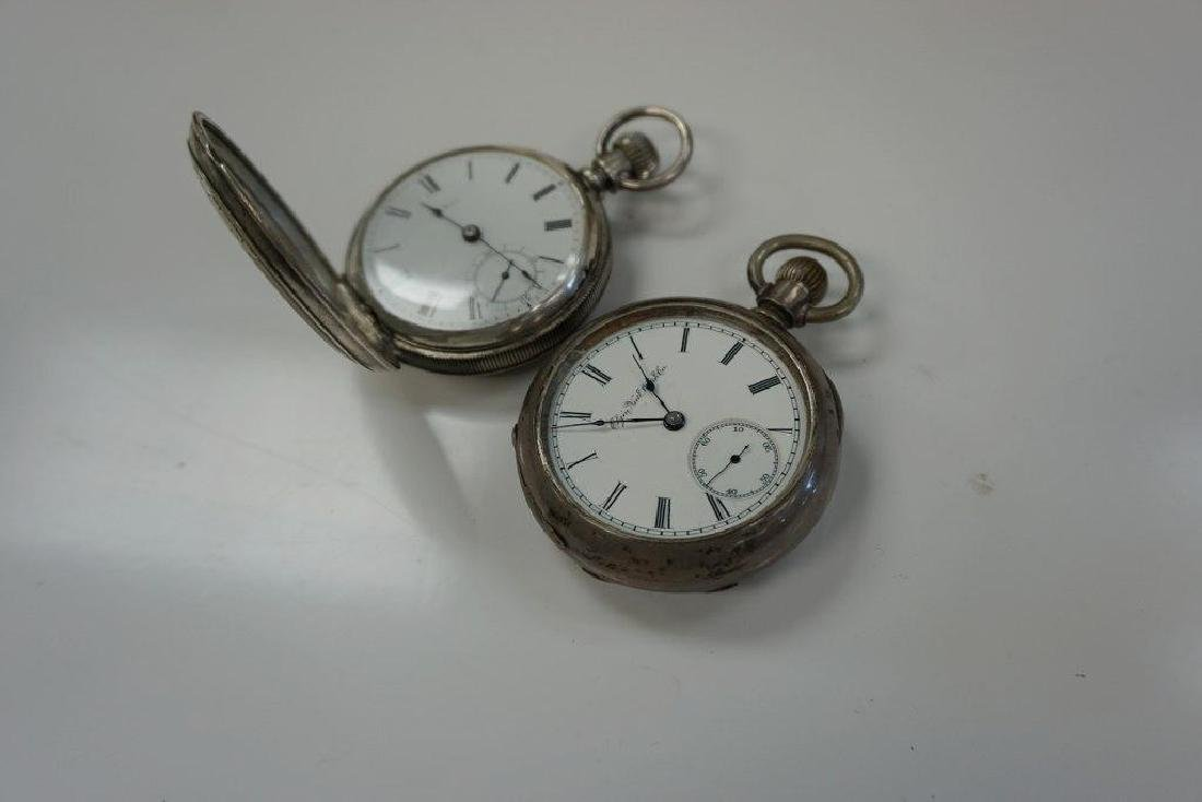 2- 18 SIZE COIN SILVER POCKET WATCHES, 1 HUNTING CASE