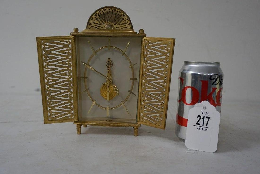 UNUSUAL LE COULTRE INLINE BRASS CLOCK, GOOD CONDITION
