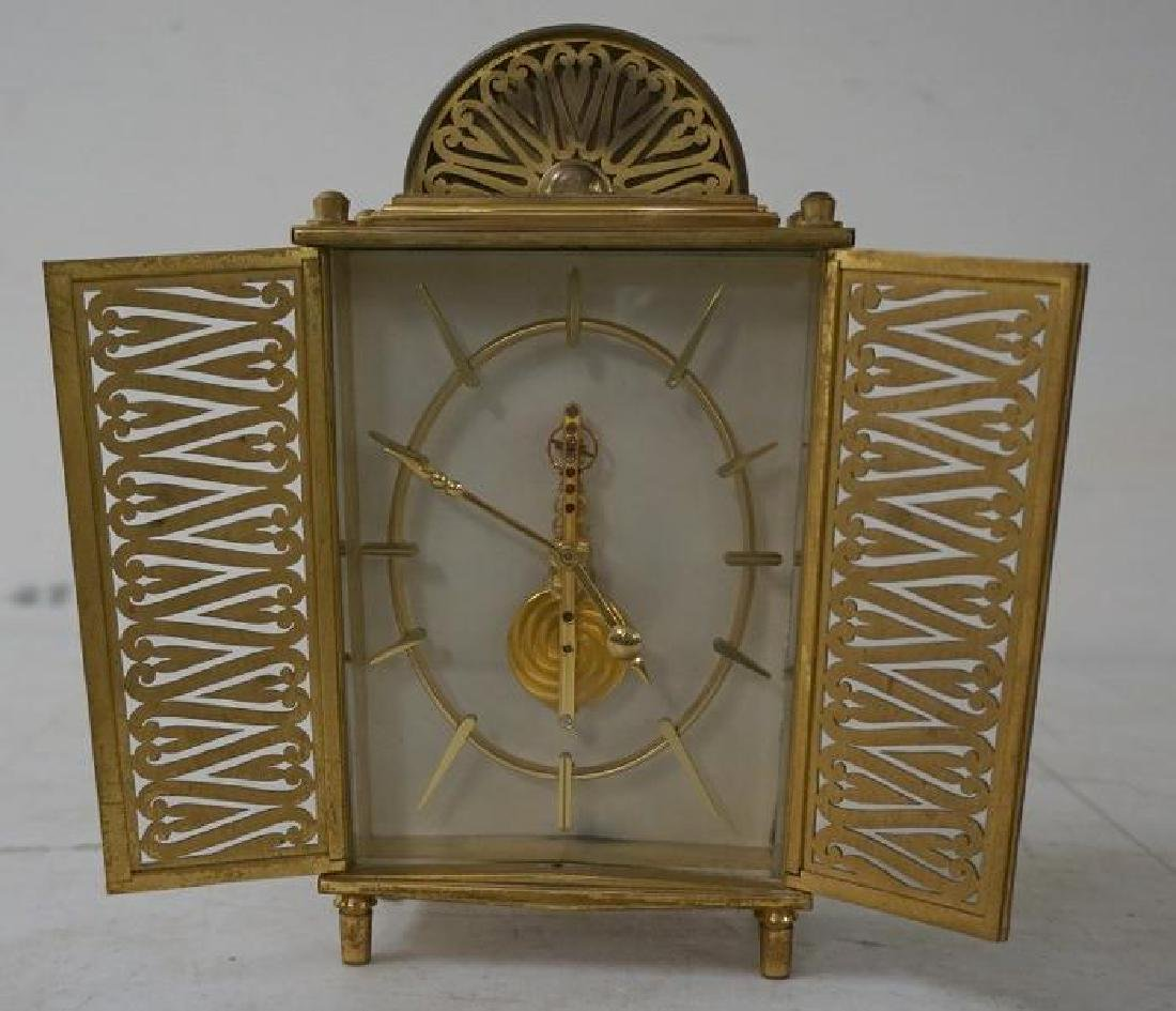 UNUSUAL LE COULTRE INLINE BRASS CLOCK, GOOD CONDITION - 2