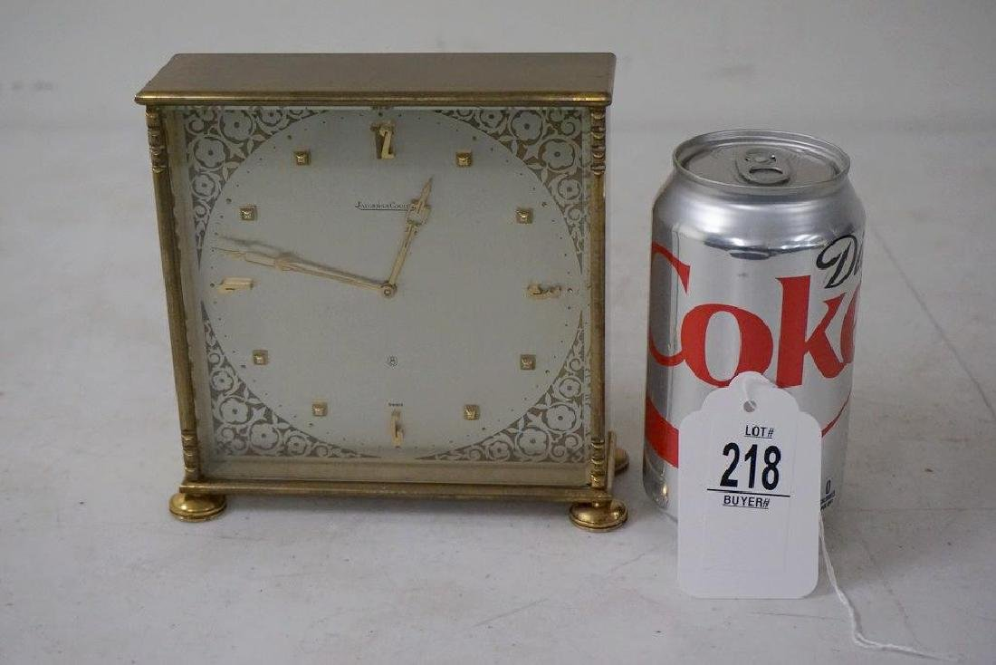 JAEGER LE CLOULTRE BRASS 8 DAY TABLE CLOCK, TICKS, FROM