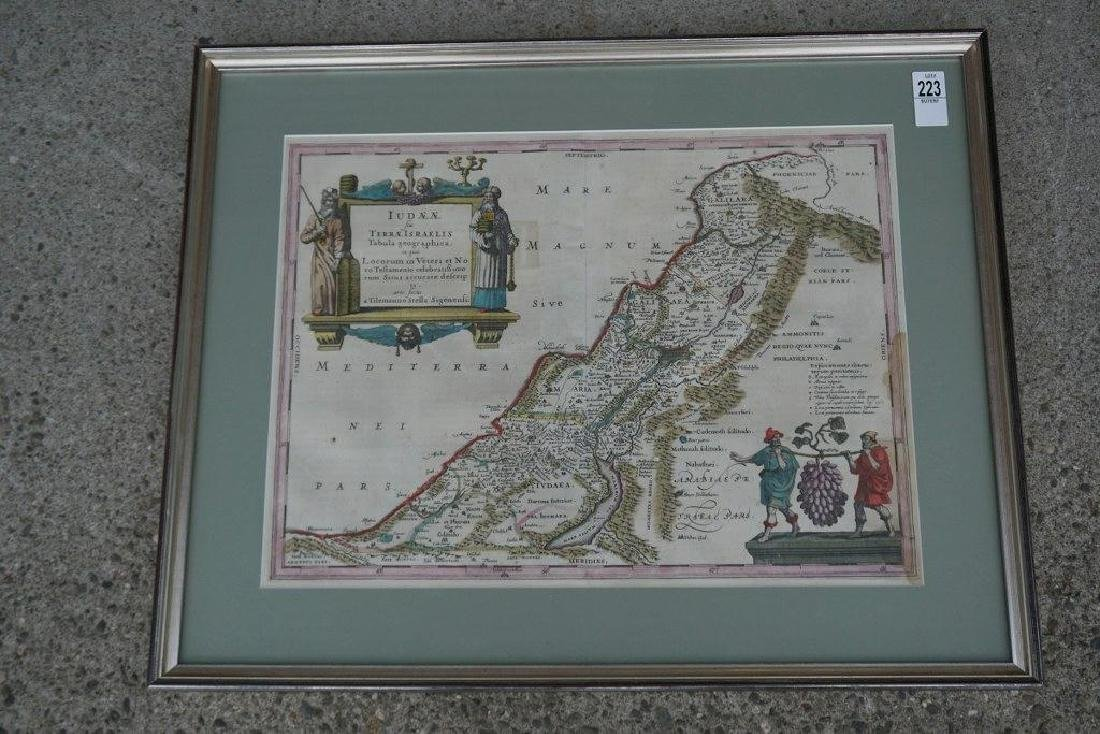 EARLY HANDCOLORED MAP JUDAE FEU TERRA ISRAELIS, FROM