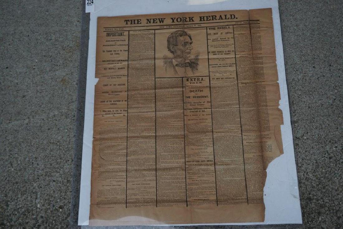LINCOLN ASSASSINATION NEW YORK HERALD NEWSPAPER,