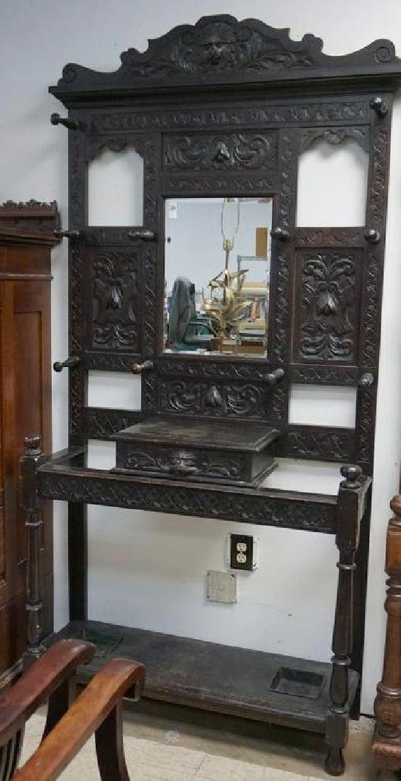 OAK CARVED HALL TREE W/UMBRELLA STANDS & MIRROR, NICE