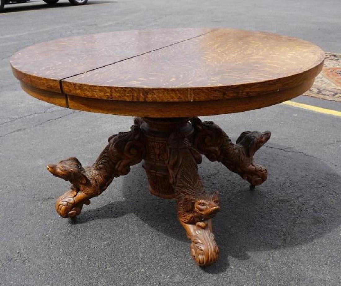 QUALITY ROUND OAK DINING TABLE W/CARVED DOGS ON BASE, - 5