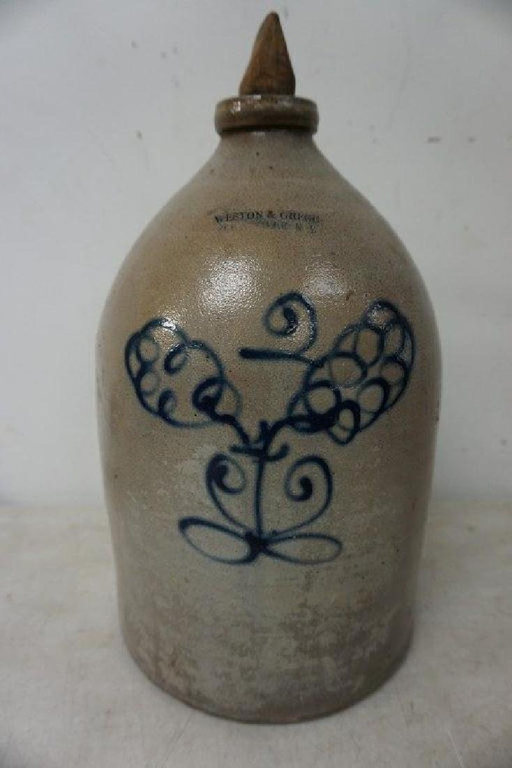 WESTON & GREGG ELLENVILLE NY BLUE DECORATED JUG WITH