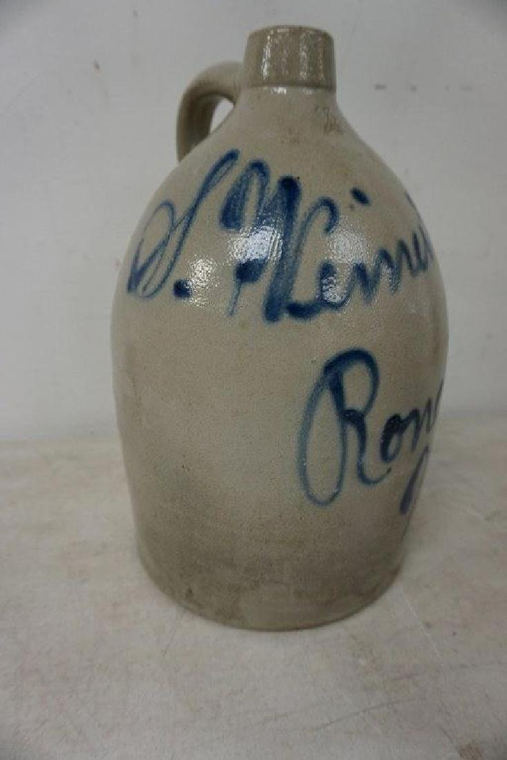 S WEINER & SON RONDOUT NY BLUE DECORATED STONEWARE JUG, - 2