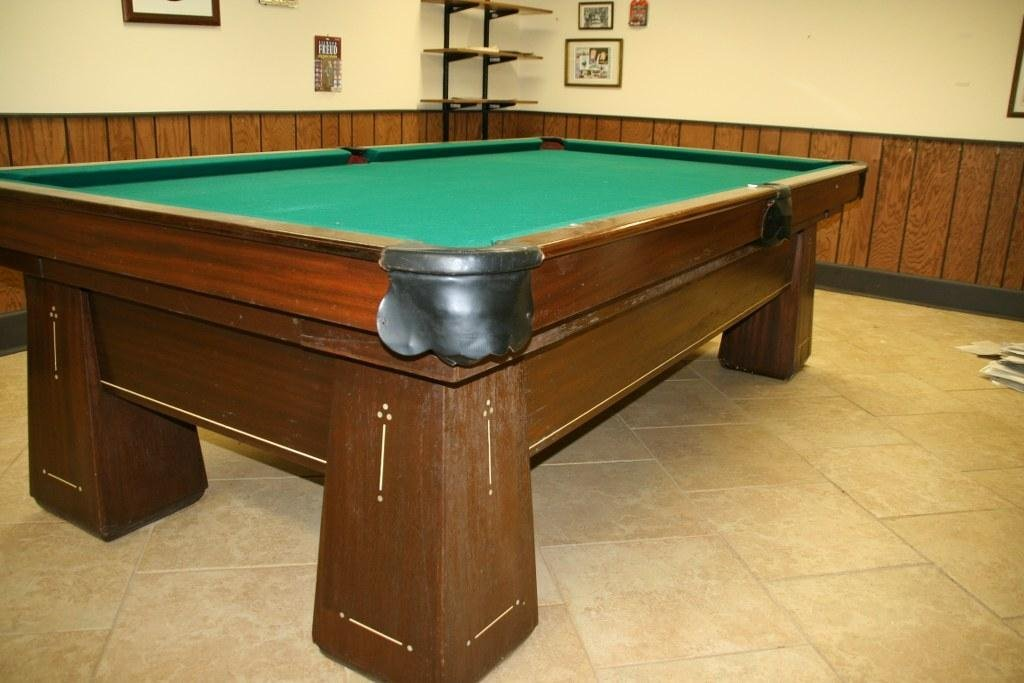 1920'S QUALITY POOL TABLE INLAID BELL BOTTOM LEGS
