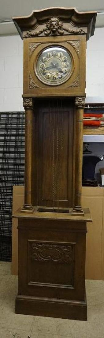 "CONTINENTAL OAK TALL CASE CLOCK, MEASURES 90"" HIGH AND"