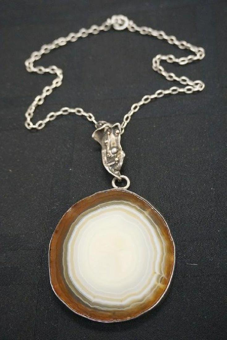 ROLPH SCARLETT AGATE & STERLING NECKLACE, DIRECTLY FROM
