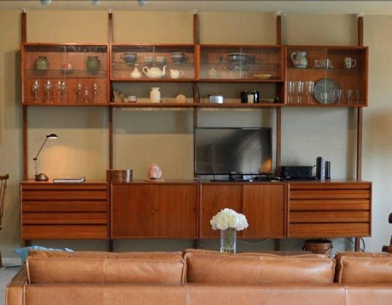 MID CENTURY DANISH MODERN TEAK WALL UNIT WITH MULTIPLE