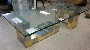 PAUL EVANS CITYSCAPE COFFEE TABLE, SIGNED ON BASE AS
