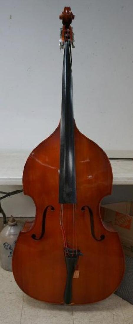 UPRIGHT BASS IN AS FOUND CONDITION, BACK IS SEPARATED
