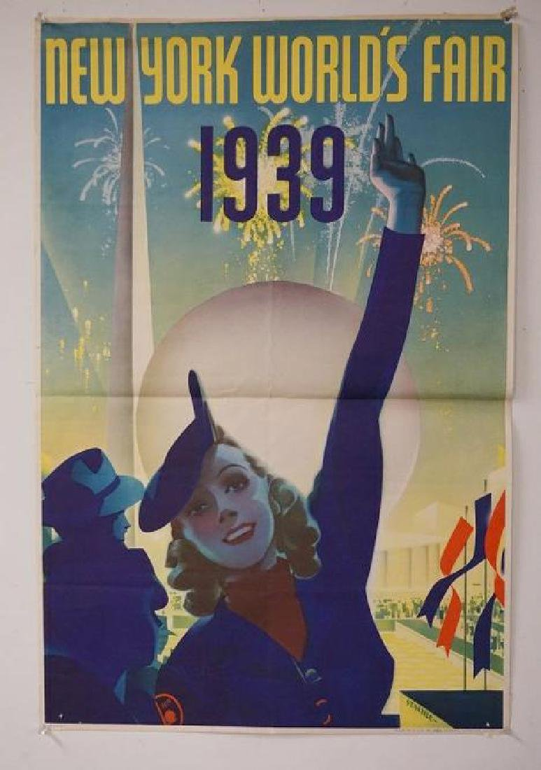 "NEW YORK WORLD'S FAIR 1939 POSTER, MEASURES 30"" X 19"