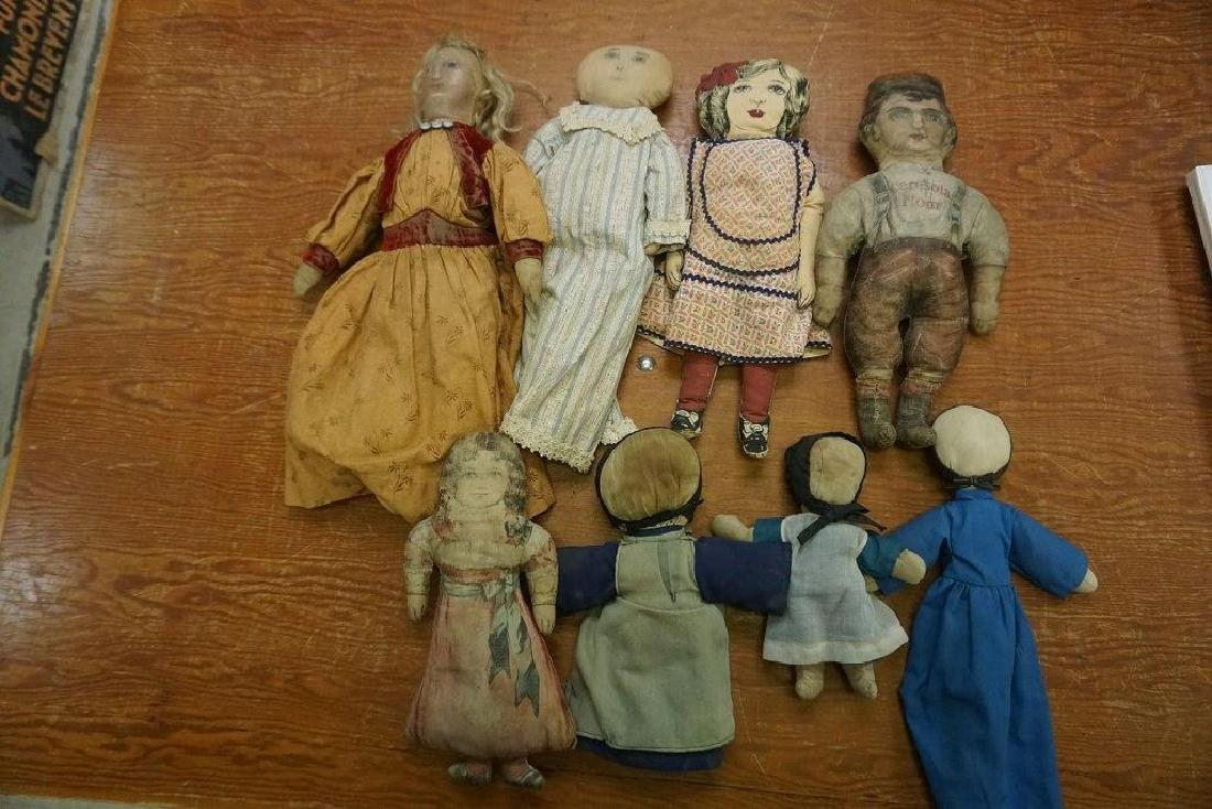 LOT OF 8 EARLY CLOTH DOLLS