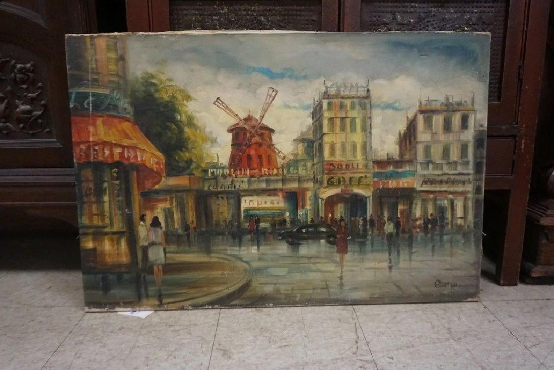 1930'S O/C PARIS STREET SCENE, SIGNED COMTELLA LOWER