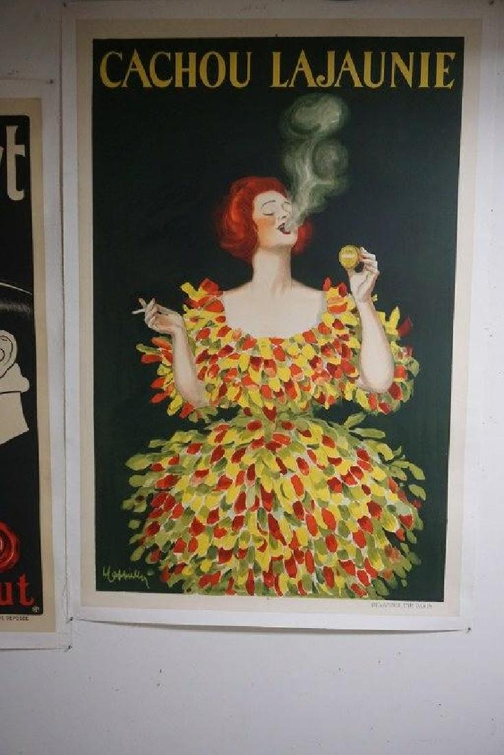 LARGE FRENCH ADV. POSTER CACHOU LAJAUNIE FOR TOBACCO,