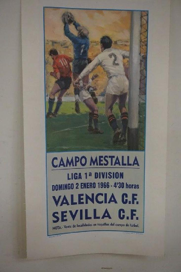 1966 SPANISH SOCCER POSTER, LINEN BACKED, CAMPO