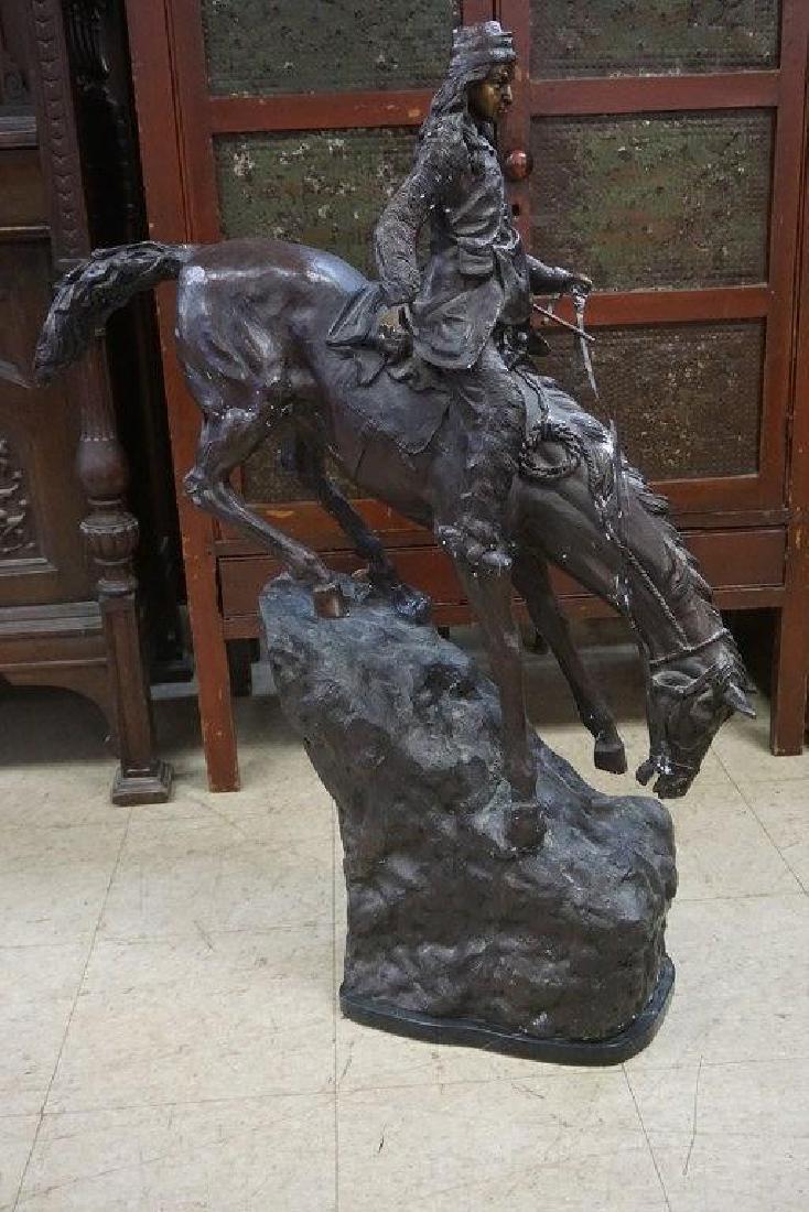 REMINGTON 41 1/2' HIGH REPRODUCTION BRONZE ON MARBLE