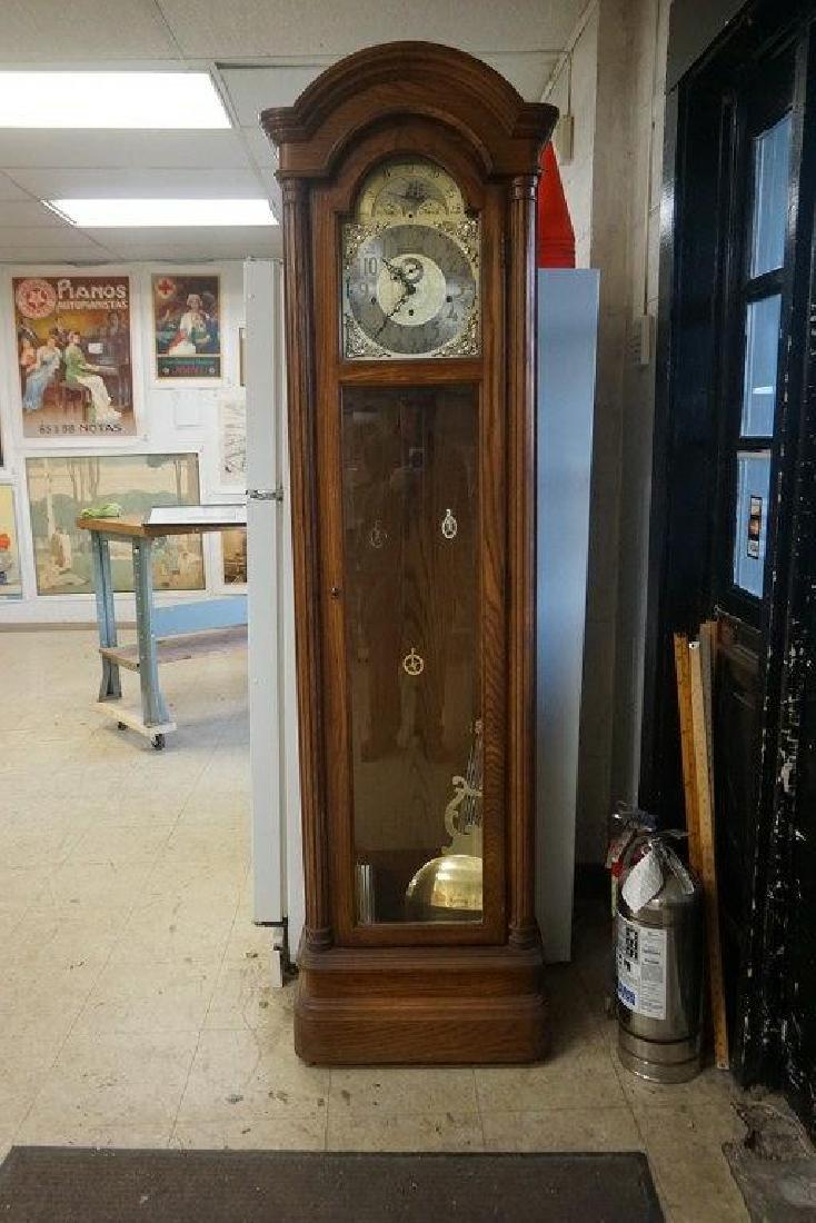 COLONIAL CONTEMPORARY OAK CASE GRANDFATHER'S CLOCK,