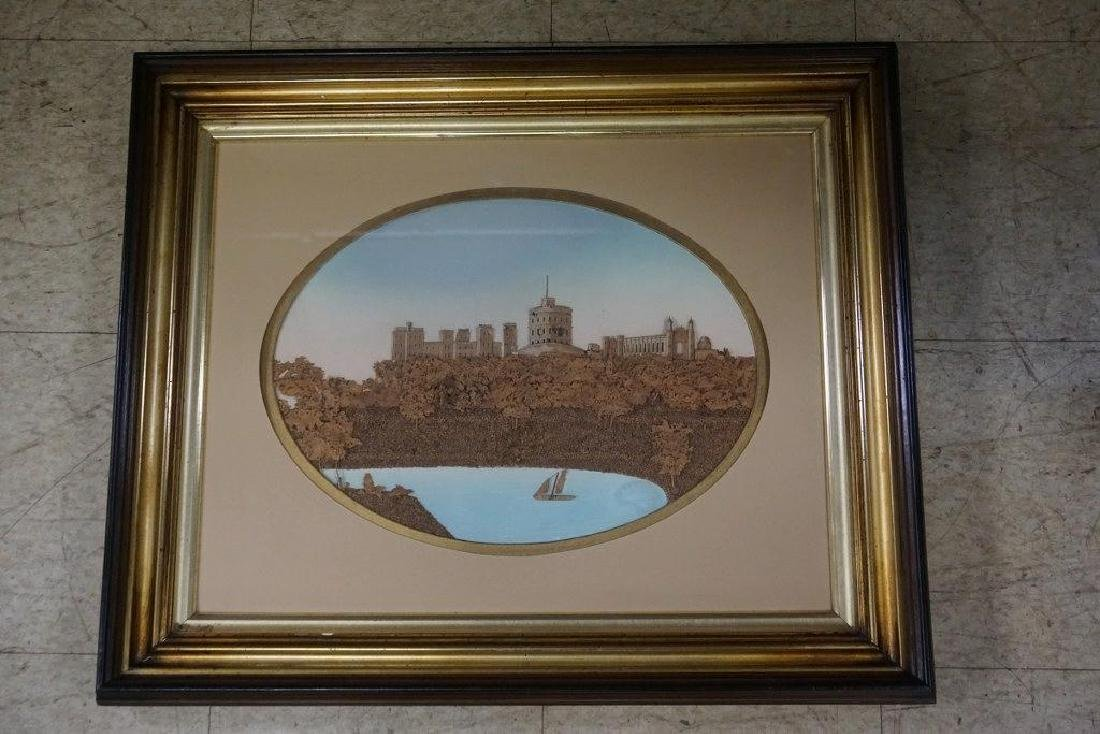 VICTORIAN FRAMED 3 DIMENSIONAL CORK & WOOD LANDSCAPE,