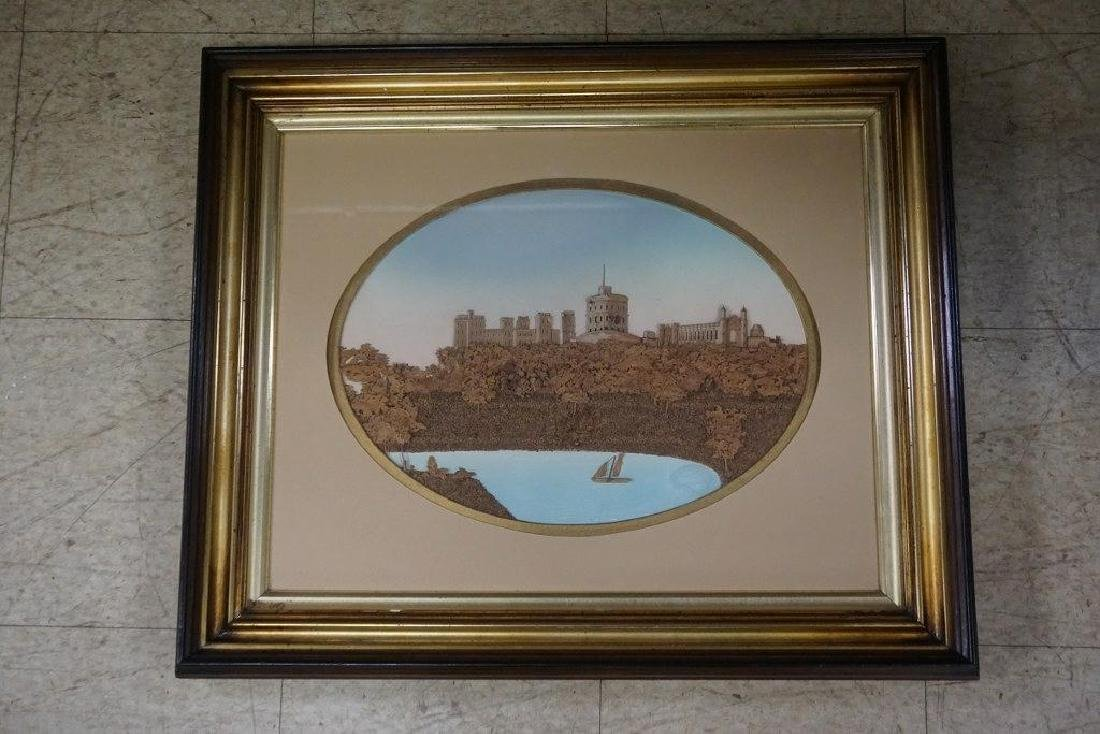VICTORIAN FRAMED 3 DIMENSIONAL CORK & WOOD LANDSCAPE, - 3