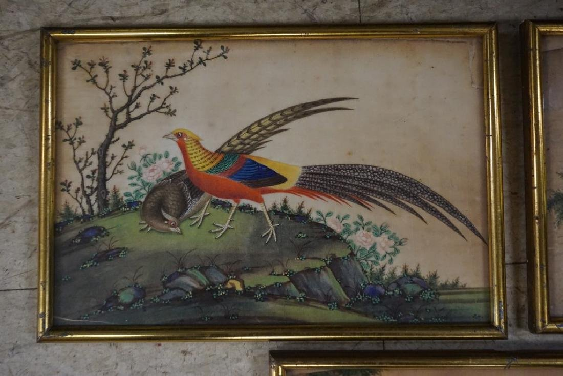 (3) EARLY ASIAN (?) PAINTINGS OF BIRDS ON RICE PAPER, - 2