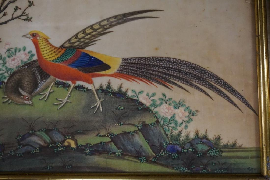 (3) EARLY ASIAN (?) PAINTINGS OF BIRDS ON RICE PAPER, - 5