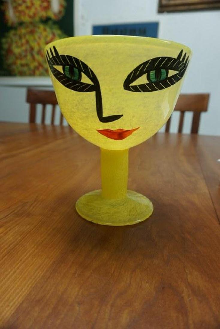 LARGE HAND PAINTED KOSTA BODA GOBLET W/ PAINTED FACE,