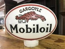 OLD GARGOYLE MOBILOIL GAS PUMP GLOBE, DOUBLE SIDED,