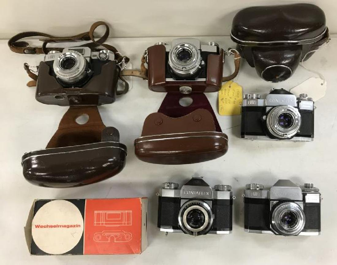 (5) ZEISS IKON CONTAFLEX 35 MM VINTAGE CAMERAS AND
