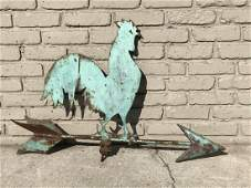 OLD SHEET METAL ROOSTER WEATHERVANE FROM HUDSON VALLEY