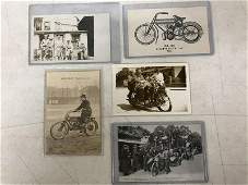 5 MOTORCYCLE RELATED POSTCARDS INCL A FEW RPPC FROM