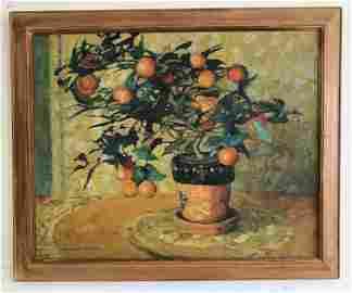 JANE PETERSON O/C STIIL LIFE OF ORANGES IN FLOWER POT,